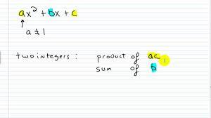 algebra i help factoring trinomials of the form ax 2 bx c part i