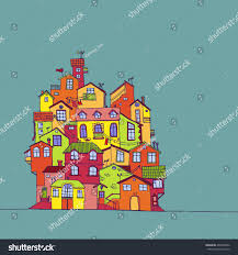 European Houses Hand Drawn Colorful Doodle Houses Old Stock Vector 405246832