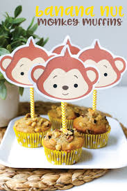 free printable monkey kid approved banana nut monkey muffins by the littles and me
