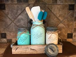 Turquoise Kitchen Canisters Mason Jar Kitchen Canister Set With Metal Galvanized Lids