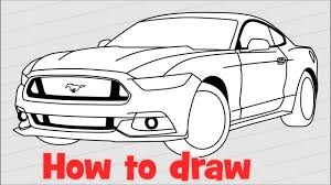 how to draw a car ford mustang gt 2017 youtube