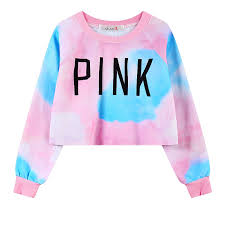 pink vs sweaters style harajuku s sweatshirts colorful tie dye pink print
