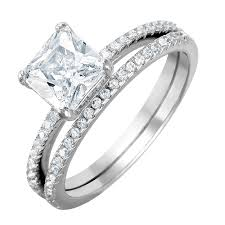 weding ring silver princess cut wedding ring set sbgr01011