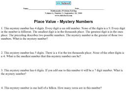 place value mystery number place value mystery numbers 5th 6th grade worksheet lesson planet