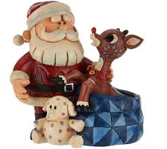 jim shore light up santa and rudolph figurine page 1 qvc