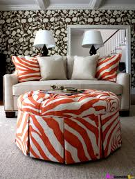 extraordinary decorating ideas using white shower curtains and 20 attractive design ideas using round white desk lamps and round orange white motif tables also with