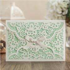 mint wedding invitations mint white flower wedding invitation envelope ribbon laser cut