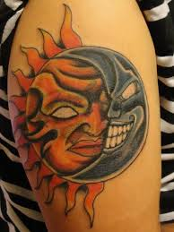 angry moon and sun on shoulder