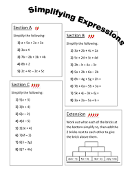 simplifying expressions differentiated worksheet by fionajones88