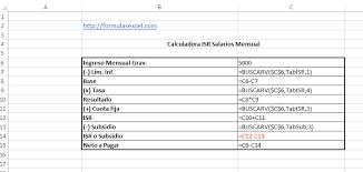 como calcular el sueldo neto mexico 2016 formulas excel para calcular isr de salarios formulas excel