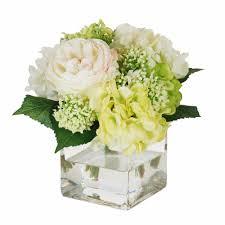 Square Glass Vase English Rose And Hydrangea Bouquet In Square Glass Vase 9