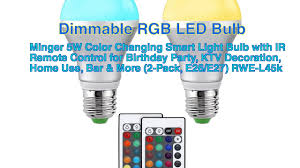 Color Led Light Bulbs by Minger Dimmable Color Changing Smart Led Light Bulb 5w Remote