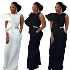 s jumpsuits black white ruffles details wide legs jumpsuits fashion plus