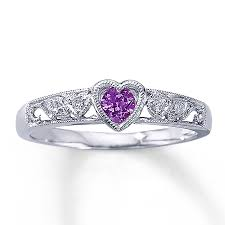 kay jewelers class rings jared amethyst heart ring diamond accents 10k white gold