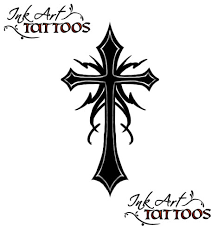 black ink gothic cross tattoo design