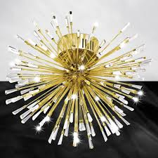 gold ceiling light fixtures stars of light vivaldo 1 gold and crystal 19 led flush ceiling light