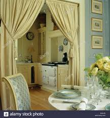 Dining Curtains Table Set For Lunch In Small Blue Dining Room With Cream Curtains