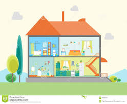 House Flat Design by House In Cut View Vector Stock Vector Image 84292471