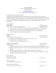 Medical Transcription Sample Medical Transcriptionist Sample Resume Summary Of Qualifications