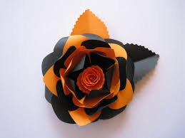 paper decorations black and orange paper flower flowers