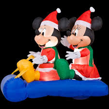 home accents holiday 5 ft inflatable led mickey and minnie u0027s sled