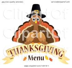 clipart of a pilgrim turkey with thanksgiving menu text royalty
