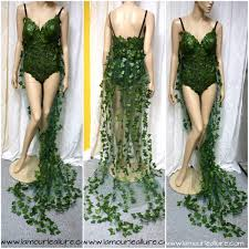 more coverage poison ivy monokini gown with train costume cosplay