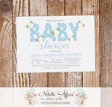 baby blue flower posie modern floral baby shower invitation on