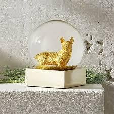 gold corgi snow globe cb2