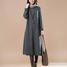 oversized chunky knit sweater chunky gray sweater dress oversize knit sweaters casual knit gown sweaters turtle neck1 jpg