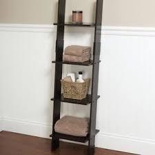 Bathroom Linen Shelves Leaning Towel Ladder Organizer Tower Wood Bathroom Linen Storage