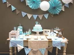 Baby Blue And Brown Baby Shower Decorations Cookies U0026 Candy Guest Dessert Feature Birthday Party Ideas