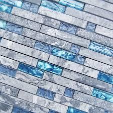 Sea Blue Glass Tile Kitchen Backsplash Marble Bathroom - Shower backsplash