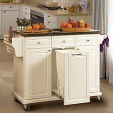 kitchen island with garbage bin rolling islands with trash compartment white kitchen cart with