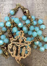 unique rosaries cloud blue swarovski heirloom rosary 8mm seraphym designs