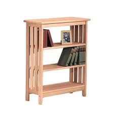 Mission Style Bookcase Unfinished Parawood 3 Shelf Mission Style Unit Free Shipping