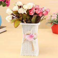 white flowers vase plastic artificial flowers vase party home