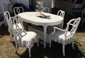 Distressed White Bedroom Beach Furniture French Provincial Ding Set White With Six Chairs