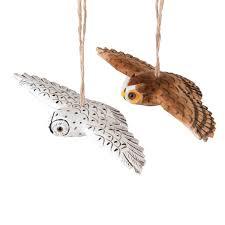 owl ornaments flying owl ornament a 2 c f home
