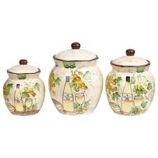 details about white grape ceramic 3 piece deluxe canister set by