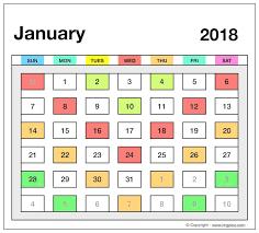 2018 printable calendar template excel pdf ms word doc