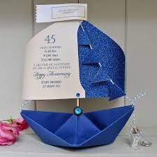 45th wedding anniversary 45th sapphire wedding anniversary paper sail boat card by the