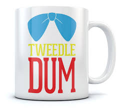 tweedle dum coffee mug funny matching slogan printed tea cup cool