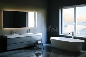 bathroom tech elegant hi tech bathroom with a big window 3d render stock