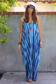 dress maxi dress pockets fashion style blue dress tie dye