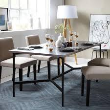 steel top dining table match table metal base stainless steel top west elm