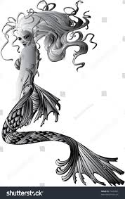 afghan hound tattoo sitting tattoo mermaid flowing hair stock vector 15832861