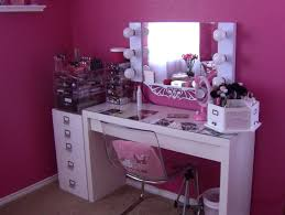 unique white wooden vanity desk with mirror and lights of
