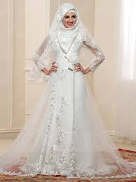 wedding dress muslim gorgeous high neck sleeves bowknot applique a line muslim