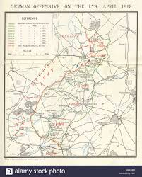 Ww1 Map Ww1 Western Front German Offensive On The Lys April 1918 1934